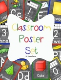 Classroom Poster Set: Alphabet, Numbers, Shapes (Chalkboar