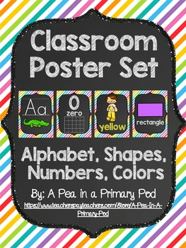 Classroom Poster Set (Chalkboard/Diagonal Rainbow): ABC, Numbers, Shapes, Colors