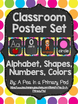 Classroom Poster Set (Chalkboard and Bright Dot): ABC, Numbers, Shapes, Colors
