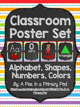 Classroom Poster Set (Chalkboard and Rainbow 2): ABC, Numbers, Shapes, Colors
