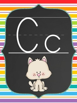Classroom Poster Set (Chalkboard and Rainbow): ABC, Numbers, Shapes, Colors