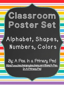 Classroom Poster Set (Chalkboard and Rainbow): ABC, Number