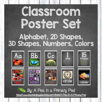 Classroom Poster Set (Chalkboard and White Wood): ABC, Numbers, Shapes, Colors