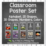 Classroom Poster Set (Chalkboard and White Wood): ABC, Num