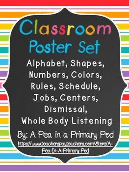 Classroom Poster Set: Jobs, Rules, Schedule, Centers, Dismissal, etc.