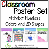 Classroom Poster Set - Rainbow Watercolor and White Wood D