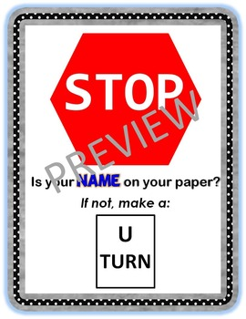 Classroom Poster: Stop Is Your Name On Your Paper?
