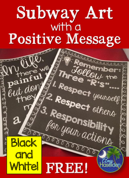 Classroom Poster Subway Art Positive Message Freebie