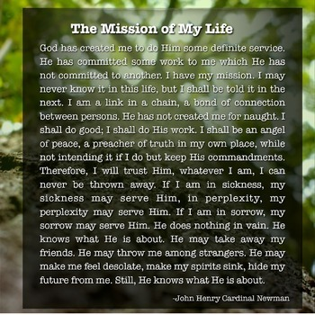Classroom Poster:  The Mission of My Life