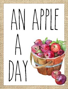 Classroom Poster / Wall Art - (An Apple A Day)