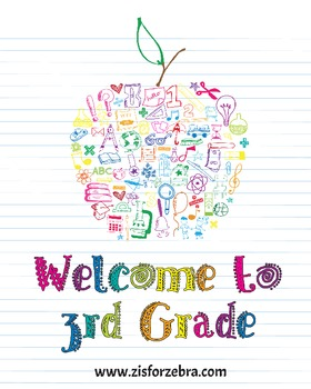 Classroom Poster - Welcome to 3rd Grade (Colored) - Z is for Zebra