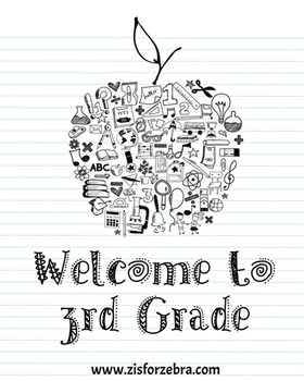Classroom Poster - Welcome to 3rd Grade - Z is for Zebra