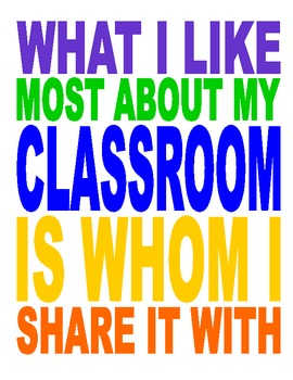 Classroom Poster:  What I Like Most About My Classroom