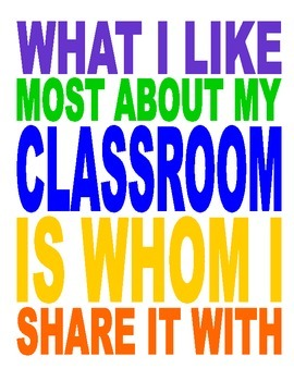 Classroom Poster - What I Love About My Classroom