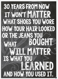 Classroom Poster: What will matter is what you learned