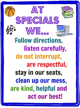 Classroom Poster for Specials Behavior