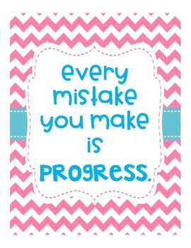 Classroom Posters & Growth Mindset Posters - Chevron Style - Classroom Decor