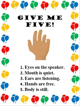 picture relating to Give Me Five Poster Printable Free called Clroom Command Posters [A3 and Printable]