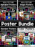 Classroom Posters BUNDLE {Black}: Alphabet, 2D&3D Shapes, Numbers (0-20), Colors