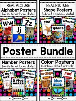 Classroom Posters BUNDLE {White}: Alphabet, 2D&3D Shapes, Numbers (1-20), Colors