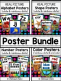 Classroom Posters BUNDLE {White}: Alphabet, 2D&3D Shapes, Numbers (0-20), Colors