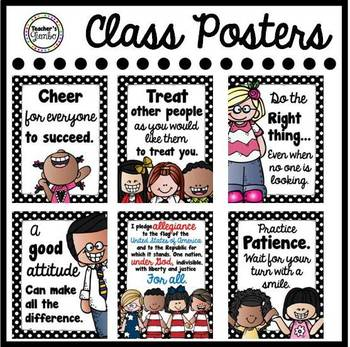 Classroom Posters - Black and White Polka Dot