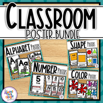 Classroom Posters Bundle: Alphabet, Numbers 0-20, Colors and Shapes