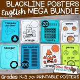 Classroom Posters Bundle {ENGLISH} | Numbers, Shapes, Colors, U.S. Coins Posters