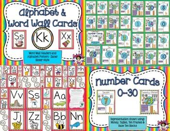 Classroom Posters Bundle- Rainbow