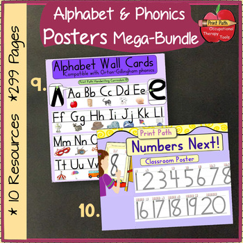 Alphabet, Word Wall, Name Plates, Phonics, CHARTS 299 page Megabundle~ HWT style