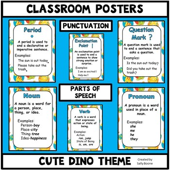 Grammar Posters-Parts of Speech, Punctuation Marks with a  Cute Dinosaur Theme