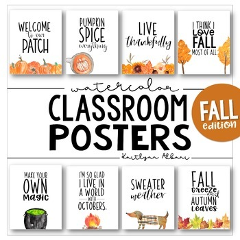 Classroom Posters - Fun Fall & Halloween Quotes (Watercolor)