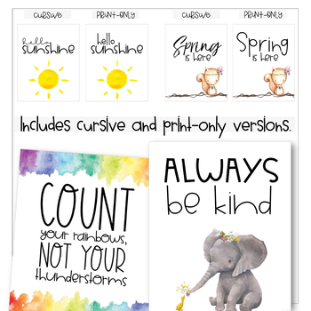 Classroom Posters - Fun Spring & Inspirational Quotes (Watercolor)