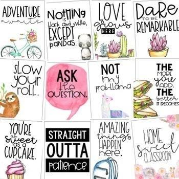 Classroom Posters - Fun & Inspirational Quotes (Watercolor) VOL. 2