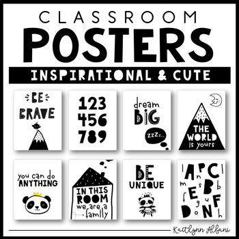 Classroom posters inspirational quotes black and white explorer theme