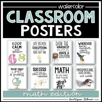 Math Quotes | Classroom Posters Inspirational Quotes Math Edition Watercolor