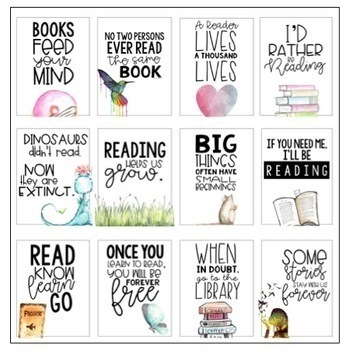 Classroom Posters - Inspirational Quotes - READING Edition (Watercolor)