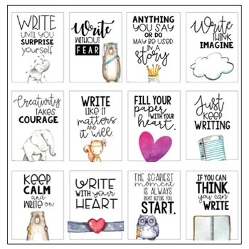 Classroom Posters - Inspirational Quotes - WRITING Edition (Watercolor)