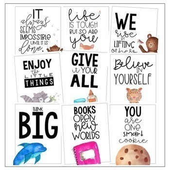 Classroom Posters - Inspirational Quotes (Watercolor)