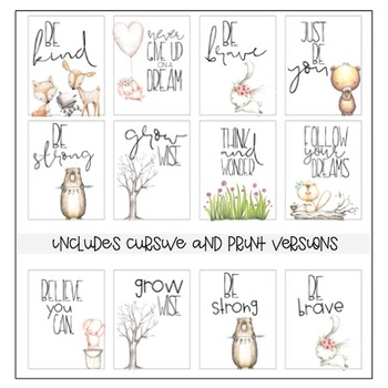 Classroom Posters - Inspirational Quotes (Woodland Animals)