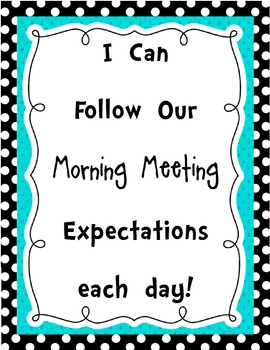 {Morning Meeting} Setting Expectations Classroom Posters for Young Students
