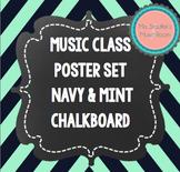 Music Classroom Posters Navy & Mint Chevron Chalkboard Theme