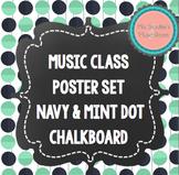 Music Classroom Posters Navy & Mint Dot Chalkboard Theme