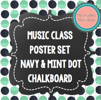 Music Classroom Posters Navy & Mint Dot Chalkboard Theme