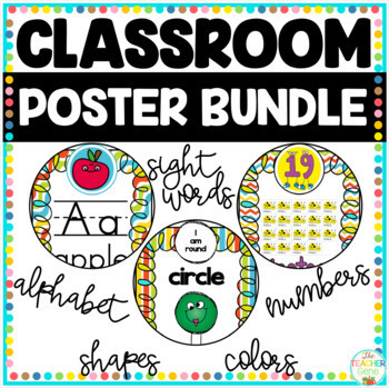 Classroom Posters Bundle: Alphabet, Colors, Dolch Sight Words, Numbers & Shapes