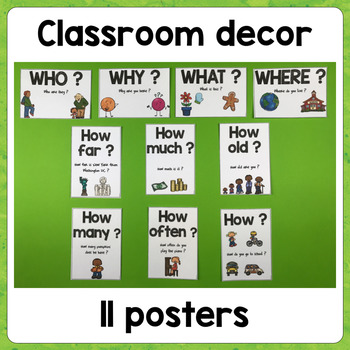 Classroom Posters: Question words