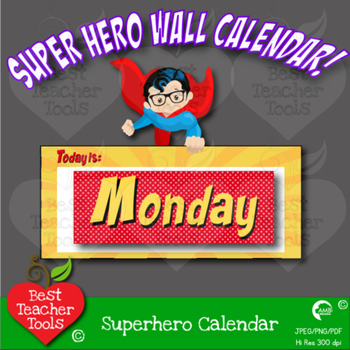 Superhero Wall Calendar, MEGA PACK, Back to School, Printable, AMB-2019