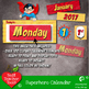 Superhero Wall Calendar, MEGA PACK, Back to School, Printa