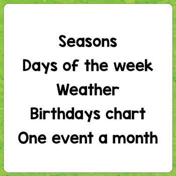 Classroom Posters - Seasons - Days - Weather - Events