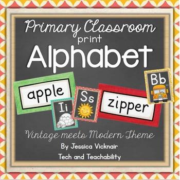 Classroom Print Alphabet {Vintage Meets Modern Theme}
